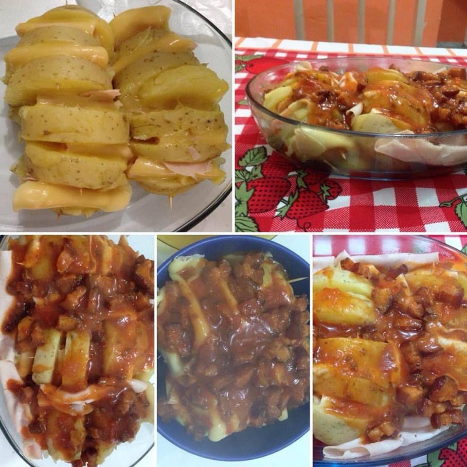 Batata recheada com bacon e peito de peru