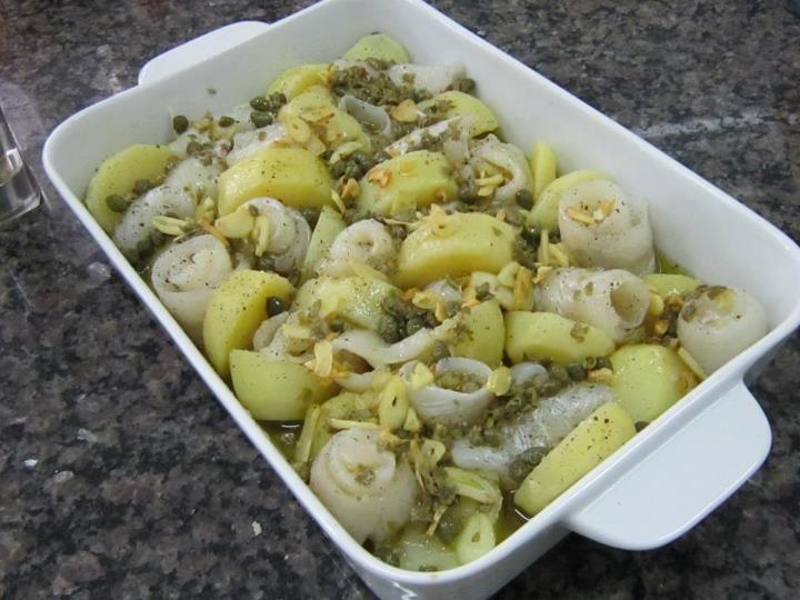 Linguado com batatas e alcaparras